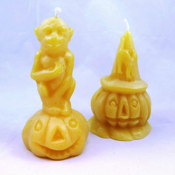 Beeswax Halloween Candle Pumpkin Candle Monkey Candle Cast Using Antique Chocolate Molds