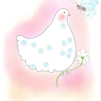 Pink Dove with butterfly by Orte Ruiz Designs on Crated