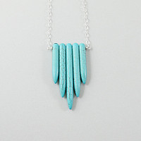 Turquoise necklace: sterling silver spike necklace tribal ethnic inspired by Native American necklace blue