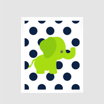 Lime Green Elephant on Navy Blue Dots, Animal, Baby Nursery Art CUSTOMIZE YOUR COLORS 8x10 Prints Nursery Decor Print Art Baby Room Decor