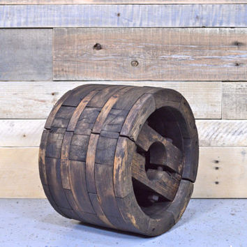 Vintage Wood Pulley, LARGE, Pulley Wheel, Antique Wood Wheel, Industrial Wood Pulley Wheel