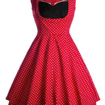 Polka Dots Print Sleeveless Sheath Midi Skater Dress