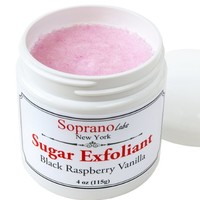 BLACK RASPBERRY VANILLA Natural Sugar Body Exfoliant with Organic Cocoa, Shea and Mango Butters. 3.6 oz. Handmade in USA.