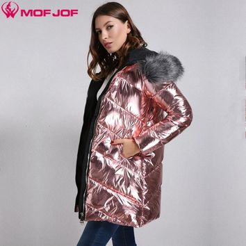 Winter Jacket Women silvermetallic  fabric  Woman's coat Faux fur Hooded thick Outerwear Bright metallic color  mofjof 592#