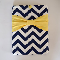"Macbook Pro 13 Sleeve MAC Macbook 13"" inch Laptop Computer Case Cover Navy & White Chevron with Yellow Bow"