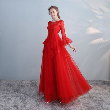 Red O-Neck Backless Ruffles Three Quarter Sleeve Appliques Lace Up Formal Dresses Floor Length Evening Dress