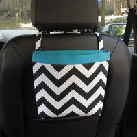 Car Headrest Caddy ~ Black Chevron ~ Turquoise Band