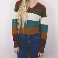 Vintage Colorblock Striped Sweater