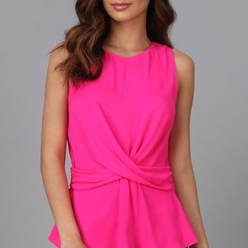 Taking Care Of Business Hot Pink Sleeveless Crew Neck Twist Front Tank Top Blouse