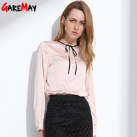 Blouses Roupas Feminina Satin Blouse Imitation Silk Chemisier Femme Manche Longue Elegant Work Wear Formal Women Blouse Black