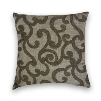 Chenille Pillow Cover---20 x 20 Abstract Contemporary Decorative Throw Pillow--Dark Grey Brown