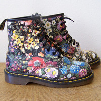 Rare 80s/90s Deadstock Floral All Over Print Soft Grunge Punk Riot Girl Made in Uk Dr Marten Docs UK 5 US 7 8 eye