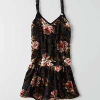 AEO Velvet Slip Dress, Black