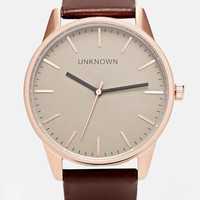 UNKNOWN Brown Leather Strap Watch With Gold Dial