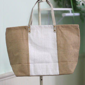 Colorblock Jute Tote Bag {Natural + White}