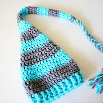 Crochet Elf Hat Sleep Hat with braid - turquoise blue and grey - Newborn to 12 Months - photography prop