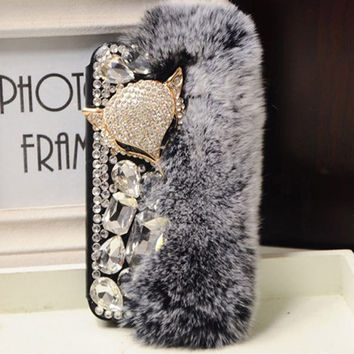Luxury Bling Crystal Faux Fox Fur Flip leather Case For Samsung Galaxy S5 S4 S3 note4 note3 note2 N9100