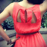 Cutout Back 'Sadie' Dress w/ Belt (Coral)