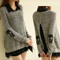 Skull decal sweater two-piece AA827GG