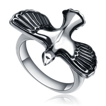 Stainless Steel Flying Bird Ring