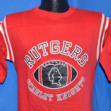 70s Rutgers Scarlet Knights Red and White Striped Football Jersey t-shirt Small