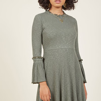 Trumpet-Sleeve Ease Knit A-Line Dress