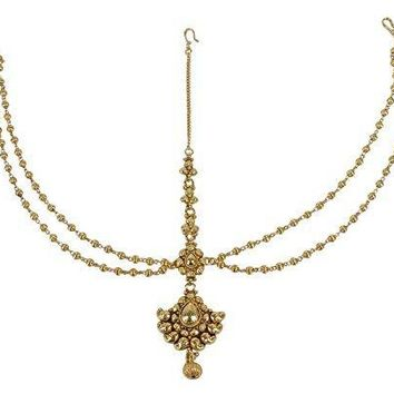 Unique Ethnic Style Stunning Gold Plated Indian Matha Patti Head Partywear Jewelry for Womens