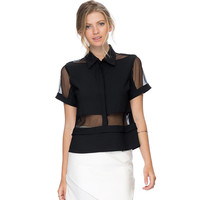 Black Chiffon Top with Mesh Sleeve
