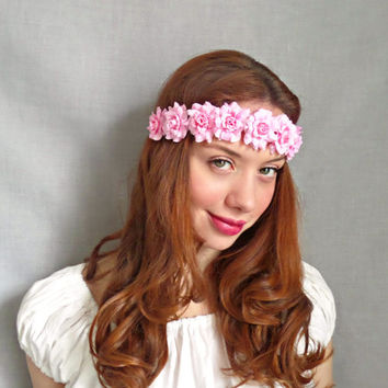 Pink Flower Crown , Rose Flower headband, Coachella, EDC, Bohemian accessories, boho headband