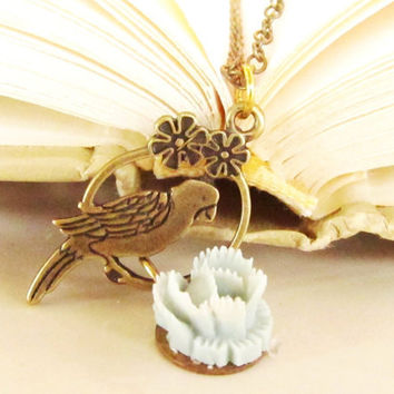 Parrot  Necklace, beautiful resin cabbage blue rose, flowered frame,antique brass chain  4tasteofshabbychic