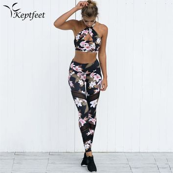 New Women Floral Printed Yoga Sets Patchwork Mesh Sports Leggings Breathable Cross Bandage Sport Bra Top and Leggings Tracksuit
