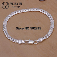 Trendy Crystal Silver Link Chain Men H199