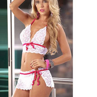 Spaghetti Strap Lace Cami and Skirt Set