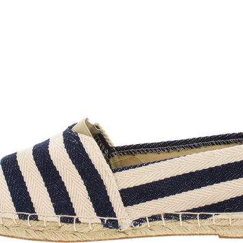 Cannes Striped Espadrille Flats - Navy