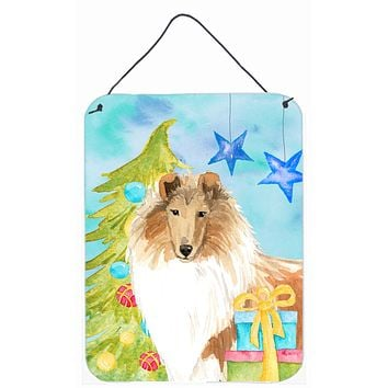 Christmas Tree Rough Collie Wall or Door Hanging Prints CK1867DS1216