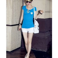 Causal Logo Pocket Back See Though Lace Decorated Blue Short Sleeves Tee Top
