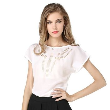 10 color S-XXL hollow out shoulder design women sheer shirts fashion summer blusas short sleeve O-neck girls Vogue blouses