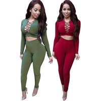 Sexy Rompers Womens Jumpsuit 2015 Long Sleeve Criss Cross Overalls For Women Bodysuit Cotton Bodycon Playsuits And Jumpsuits