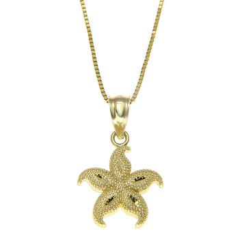 14K SOLID YELLOW GOLD 11MM HAWAIIAN OCEAN SEA STAR STARFISH CHARM PENDANT SMALL