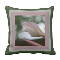 Floral, Plumeria Blooms framed in Pink Gray Green Throw Pillow