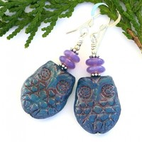 Blue Opal Handmade Owl Earrings, Lavender Opal Sterling Silver Trendy Fashion Jewelry