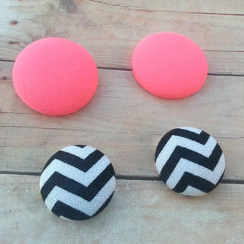 SALE : Hot pink Studs, Chevron Earrings, Button Earrings, Fabric Covered Stud Earrings