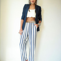 80's Vintage White and Blue Stripe Trouser Harem by viralthreads