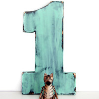Wooden Number 1 (Pictured in Mint) Pine Wood Sign Wall Decor Rustic Americana Cottage Country Chic