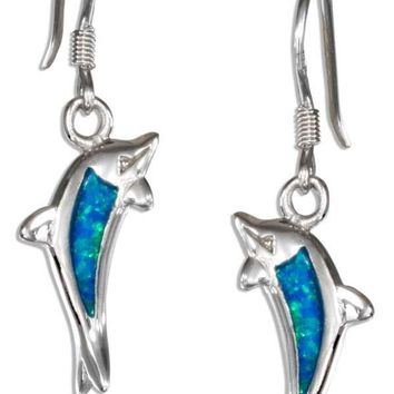 STERLING SILVER SYNTHETIC BLUE OPAL JUMPING DOLPHIN EARRINGS