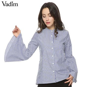 Women full cotton sweet flare sleeve striped blouses long sleeve stand collar shirts ladies casual tops blusas LT1226