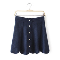 Faux Suede Leather Button A-Line Mini Skirt
