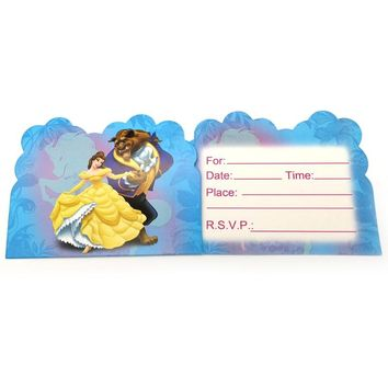 10pcs Happy Birthday Girls Favors Beauty and Beast Theme Invitation Cards Baby Shower Events Wedding Party Decoration Supplies