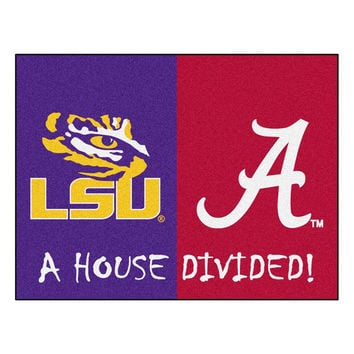 LSU Tigers-Alabama Crimson Tide NCAA House Divided NFL All-Star Floor Mat (34x45)