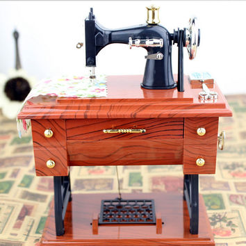 Musical Boxes Treadle Sartorius Toys Retro Home Decoration Vintage Lockwork Sewing Machine Music Box